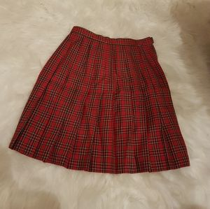 Tofy Pleated Skirt Red Plaid